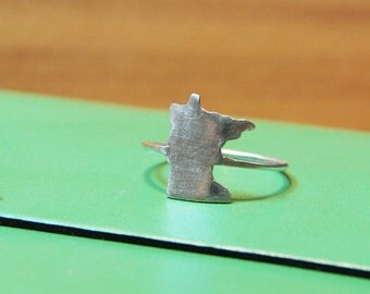Sterling Minnesota Ring Stacking Ring, Custom State Ring- Free Shipping