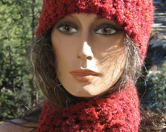 Hat and Scarf Set Red Crochet Knit Vegan