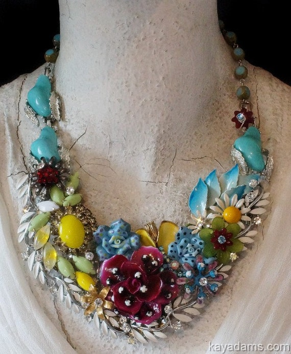 Magenta's Friends Explosive Statement  Necklace.  Her BFF's, Aqua Yellow Chartreuse and White. Kay Adams.