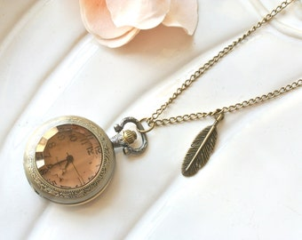 Antique Brass Glass Pocketwatch Necklace