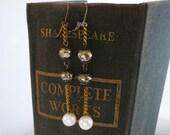 Brass Chain Earrings Dangle Freshwater Pearl, Pyrite Gemstone Long Statement