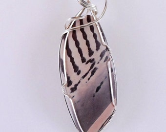 Zebra Stone Pendant with Sterling Silver wire wrap - P215