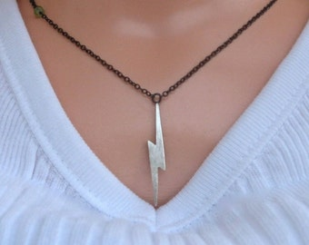 Lightning Bolt Necklace- Silver, Oxidized Chain & Gemstone- Inspired by Mila Kunis in Friends with Benefits
