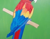 Wooden Macaw Puzzle, beautifully handmade - hand painted on BOTH sides -HIGH challenge level-a great gift for adults. In stock ready to ship