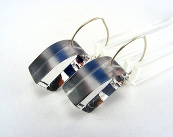 Lucite Earrings Boat Design, Handmade Dangle Earrings Red White Blue Stripe Pattern