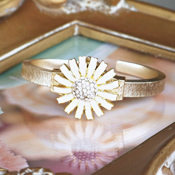 One of a Kind, Gold and White Daisy Vintage Cuff Bracelet with Pave' Crystals, Gold Cuff Bracelet