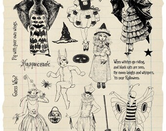 Masquerade Rubber Stamp Collection - Halloween