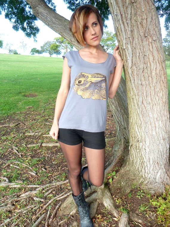 Sale - Baby Cottontail Rabbit tshirt  - eco friendly brown and gold screenprint on slate grey cotton scoop neck - sizes S, M, L, XL
