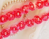 Satin Rosette Trim in HONEYSUCKLE PINK with Hand Sewn Matching Pearl Beads- 1 yard