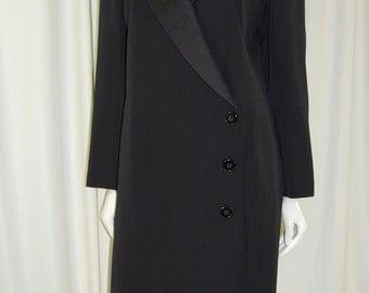Saint Laurent Rive Gauche Black Wool w/ Satin Peak Lapel Collar