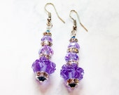 Purple Crystal, Studded Rundells & Lampwork Earrings