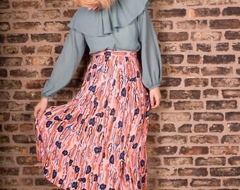Viintage 80s Authentic Nicole Miller Sport Pleated High Waist Pleated Pink Brush Stroke Long Skirt (sz 2 4)