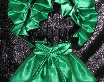 Cosplay Jade West Poison Ivy Reversible Satin Bolero Shrug Wrap  Apron peplum burlesque skirt Supercon