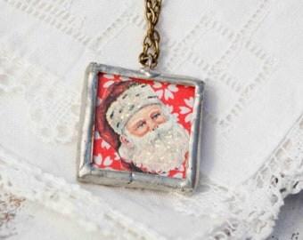 Santa Claus Necklace Festive Holiday Christmas Santa Winter Snow Vintage Paper