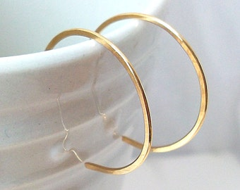 Small Hoops, Gold Filled Hoop Earrings, Gold Reverse Hoop Earrings - 1 Inch Diamter