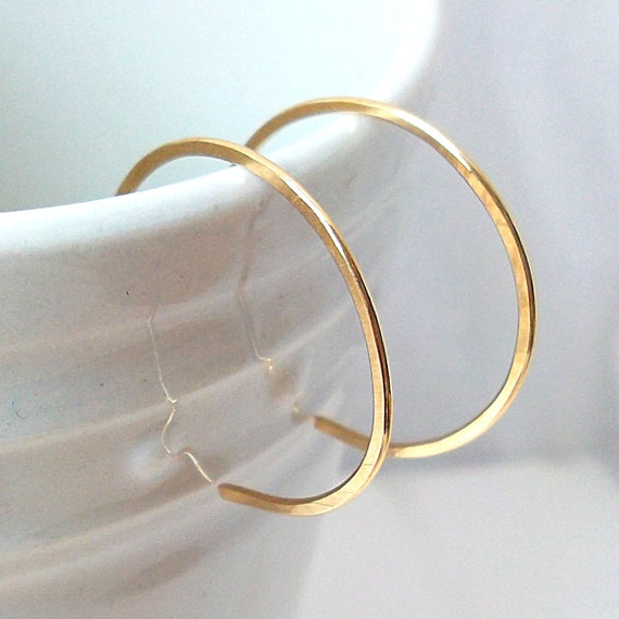 Small Gold Hoops, Gold Filled Hoop Earrings, Gold Reverse Hoop Earrings