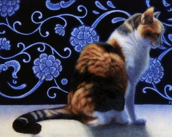 Little Lucky Blue - Blank Card of Original Calico Cat Oil Painting by Nancy Cuevas