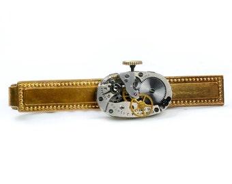 Steampunk 1940's Elgin Watch Movement Brass Tie Bar Alligator Clip