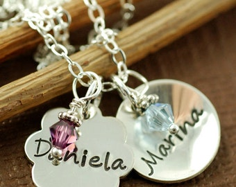 Hand Stamped Jewelry, Personalized Necklace - Mommy Necklace - Sterling Silver Jewelry