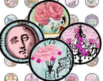 Victorian Garden Tea Party 1 in Circles Digital Collage Sheet bottlecaps jewelry pendant ring clear glass domes round bubbles U print 300jpg
