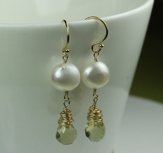 White Pearl wire wrapped Citrine teardrop / gold filled French Hooks / gemstone earrings / November Birthstone