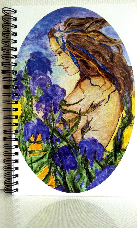 Notebook Journal Diary SPRING IRISES Lynne French Art 80 Pgs.Spiral Bound