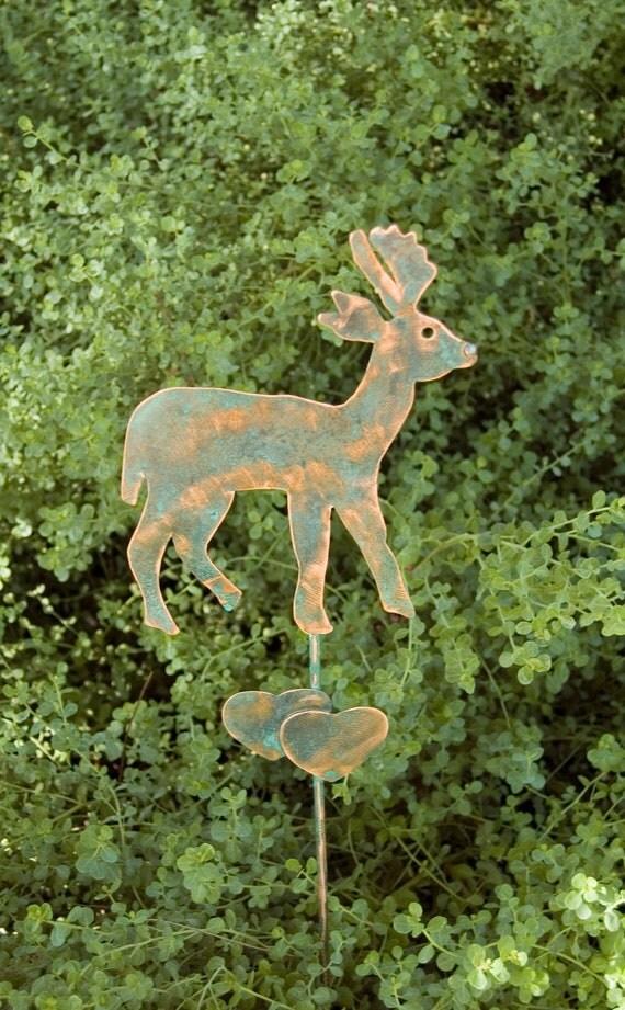 DEER Plant POT STAKE Handmade Garden Art  Lawn Outdoor Spike Metal Copper Home Decor
