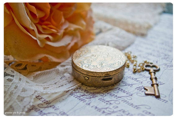 solid perfume in round brass compact - over 60 natural aroma options - the concubine's charm - high victorian kink at its romantic finest