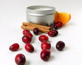 Orange Cranberry Scented Soy Candle / 6 oz Candle Tin or 16 oz Mason Jar