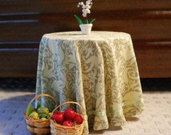 1/12 Scale (Dollhouse) Pale Green Edwardian Print Cloth Covered Table with Satin Ribbon Trim - Indoor Fairy Garden