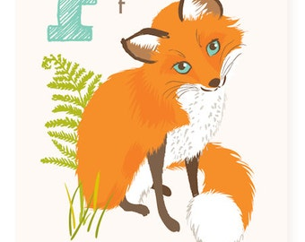 ABC card, F is for Fox, ABC wall art, alphabet flash cards, nursery wall decor for kids