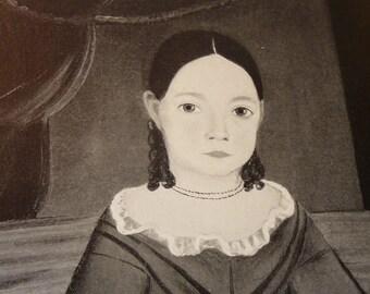 Vintage Folk Art - Girl Seated on Bench - Fine Art Print - Americana Portrait