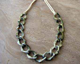 Chain Necklace - Sage Green Chunky Chain Necklace - Stellar Statement Necklace No. 16