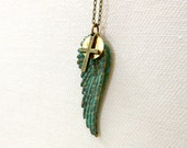 Crusader necklace w Roman coin, teal grungy angel wing, religious cross
