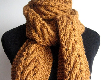 Knit Scarf, Honey Deep Gold Cable and Lace Scarf,  The Stef Scarf, Mens Scarves, Knit Accessories, Womens Scarves