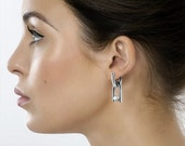 U Shaped Dangling Hoop Earrings in Stainless Steel - Interchangeable Charms with Tension Set White Pearls