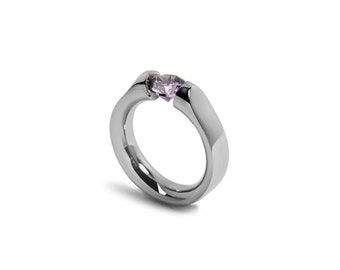 Amethyst Tension Ring Design Stainless Steel