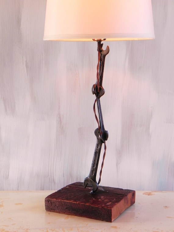 items similar to wood and metal table lamp made with welded wrenches and reclaimed white oak. Black Bedroom Furniture Sets. Home Design Ideas