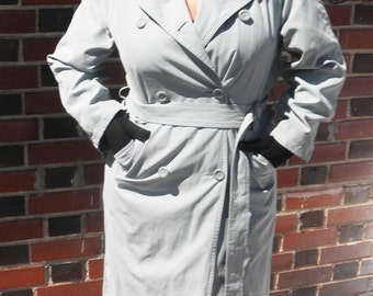 SALE Vintage London Fog Powder Blue Trench Raincoat S/M/L