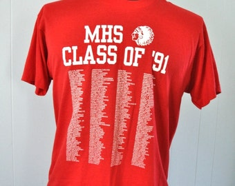 Rare Burnout 1991 MHS Class of 91 Ma Ct Tshirt Bright Red Tee LARGE