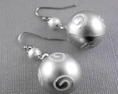 Silver Christmas Ornament with Silver Bead Earrings