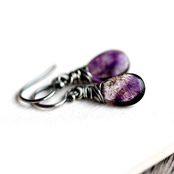 February Birthstone Earrings - Moss Amethyst Wire Wrapped in Oxidized Sterling Silver - Spark