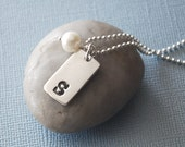 Personalized Initial Tag Charm Necklace with Freshwater Pearl - Silver Custom Initial Charm -  Sterling Silver Chain
