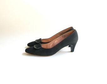 1950s Shoes / Vintage Saks Fifth Avenue Rhinestone Black Heels- size 7