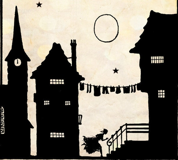 """Vintage Fairy Tale Illustration """"These Old Walls"""" Houses Village Silhouette - Black and White Paper Cut Art - European Town Scene"""
