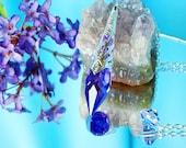 Dowsing Pendulum Swarovski Single Point Crystal Magic Wand Blue Violet