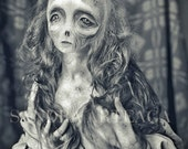 Constance  -Halloween- lustre print  size A4 ( 8.3 in x 11.7 in ) corpse bride witch zombie art doll black white  ghost lady haunted