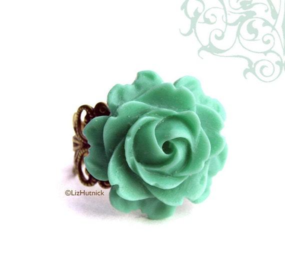 Cool Mint Rose Ring, Adjustable Mint Green Flower Filigree Ring, Novelty Ring, Bohemian