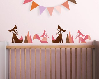 Fox Wall Decal, Nursery Wall Decal, Brown Fox Decal, Woodland Wall Decal, Kids Decals. Foxes Children Wall Decal
