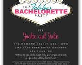 Fabulous Las Vegas Themed Party Invitation (4x6 or 5x7) Digital Design - great for casino themed bachelorette parties and casino nights